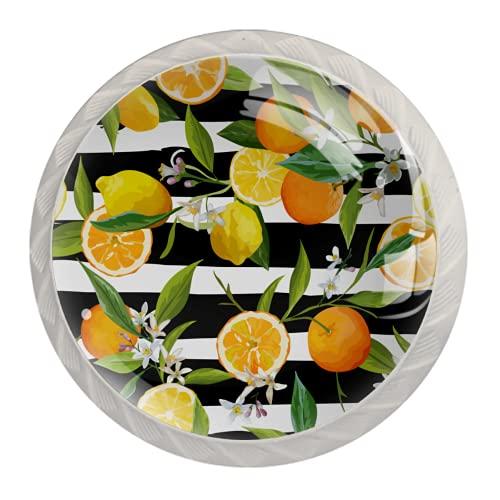 Manijas para cajones Perillas para gabinetes Perillas Redondas Paquete de 4 para armario, cajón, cómoda, cómoda, etc. - Hoja de limón naranja