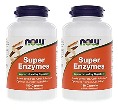 Now Foods Super Enzymes 180 Capsules, 2 Pack