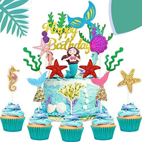 iZoeL Tortendeko Meerjungfrau Mädchen Geburtstagstorte Dekoration Happy Birthday Girlande Seepferdchen Algen Kuchen Topper Kindergeburtstag Unterwasserwelt
