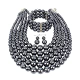 KOSMOS-LI Multi Layer Pearl Strand Necklace Bracelet and Earring Imitate Grey Pearl Jewelry Set
