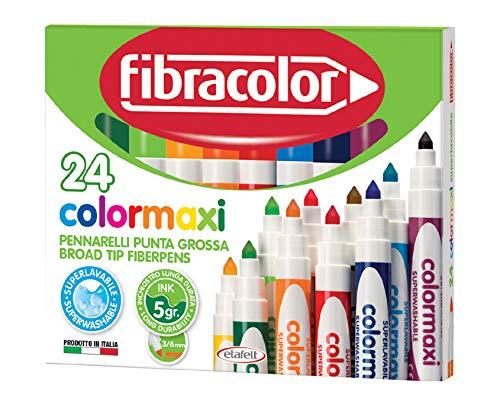 Fibracolor Colormaxi confezione 24 pennarelli punta grossa conica superlavabili