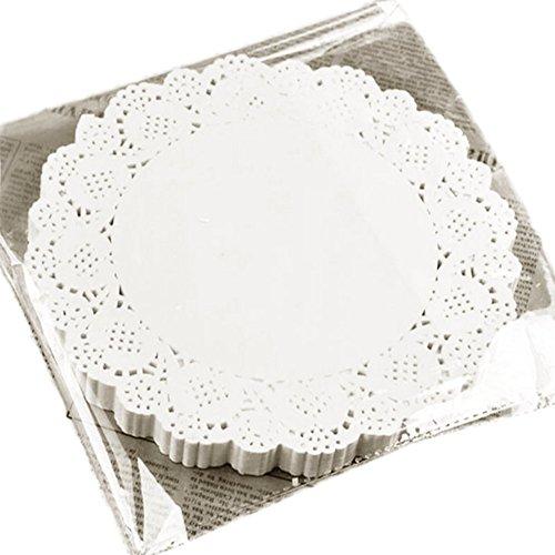 Hosaire 100 Stück Weiß Spitze rund Papier Deckchen Kuchen Verpackung Pads Hochzeit Geschirr Dekoration