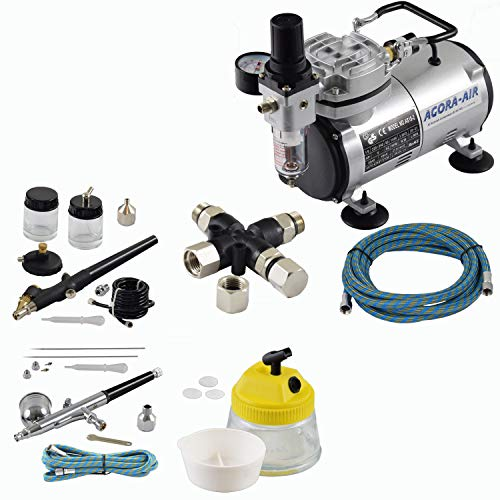 Agora-Tec® Airbrush Komplett-Set EXPERT VIII.1, Komplettsystem für Airbrush, inkl. Kompressor mit 4 bar und 20l/min + 2 Airbrushpistolen mit 0,2 & 0,3 & 0,5 & 0,8mm Nadeln/Düsen + 3-fach Luftdruckverteiler + Clean Pot + 2 Schläuche + Adapter