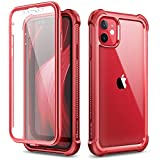 Dexnor Funda para iPhone 11 (6.1''), Carcasa con Parachoques de Silicona de 360 Grados, [A Prueba de Golpes] [Ligero] Panel Posterior Transparente, Protector de Pantalla Incorporado - Rojo