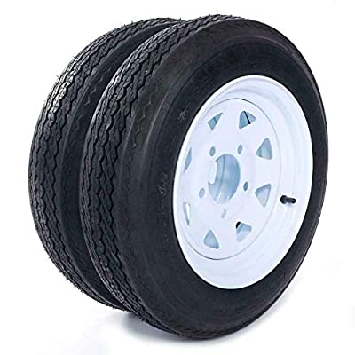 "MOTOOS Trailer Tire 4.80 x 12 with Rim 5 Lug 2-Pack Trailer Tire of Wheel 4.80-12 Load B 5 Lug 480 x 12 White Rim 4PLY Trailer on 4.5"" Center Tire Tubeless"