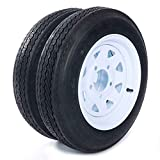 MOTOOS Trailer Tire 4.80 x 12 with Rim 5 Lug 2-Pack Trailer Tire of Wheel 4.80-12 Load B 5 Lug 480 x 12 White Rim 4PLY Trailer on 4.5' Center Tire Tubeless