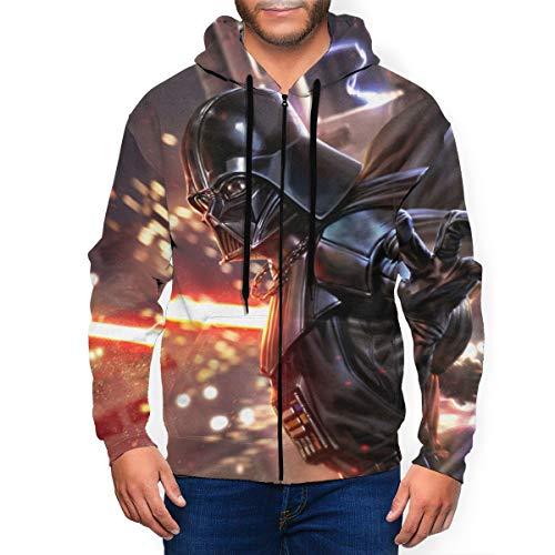Star Wars Darth Vader Herren Hoodie mit Reißverschluss Tasche Hoodies Casual Sport Mantel Kinder Print Mantel Gr. XL, Schwarz