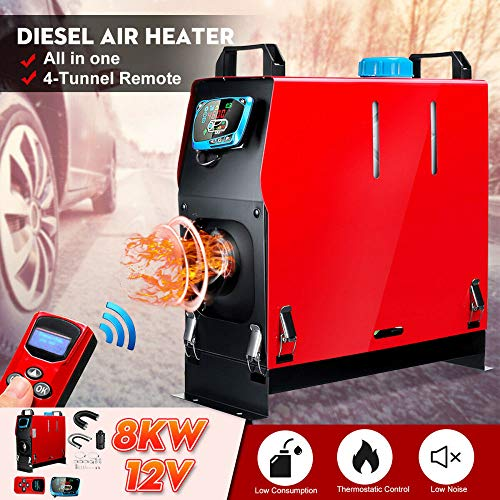STHfficial Alles-in-één luchtdiesel verwarming 1 KW-8 KW instelbare 12 V 1 gat autoverwarming voor camper-boot-bus + LCD-schakelaar + directe overdracht Engelse