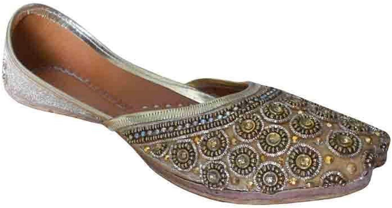 Kalra Creations Mojari Indian Handmade Designer Wedding Women shoes Leather Flip-Flops gold