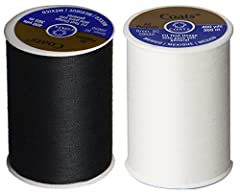 2-Pack (One Spool Black PLUS One Spool White) Thread for hand and machine sewing on all fabric types. Features polyester covered polyester core for strength. Each Spool is 400 yard (365m)
