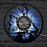 WERWN Reloj de Pared Creativo de Moda Reloj de Pared de diseño de Sirena de Dibujos Animados Reloj de Pared LED