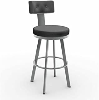 Amisco Tower Swivel Metal Counter Stool with Backrest, 26-Inch, Magnetite/Ink