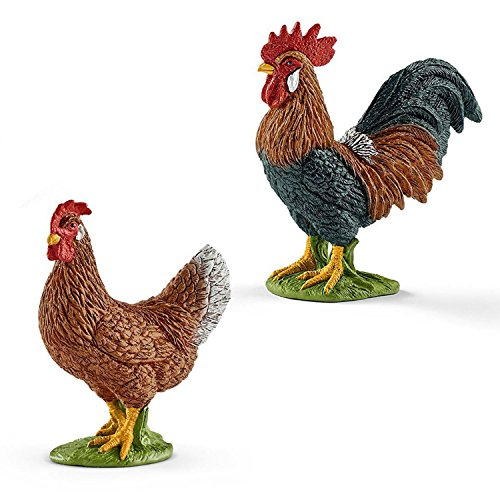 SCHLEICH Hahn 13825 mit Henne 13826 Farm Life Figuren-Set 2-teilig