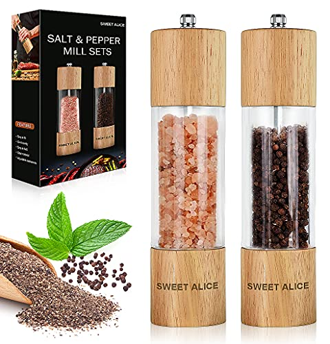 Salt and Pepper Grinder Set of 2, Premium Acrylic and Wooden Material with Large Visible Window and High-Capacity, Adjustable Coarseness with Ceramic...
