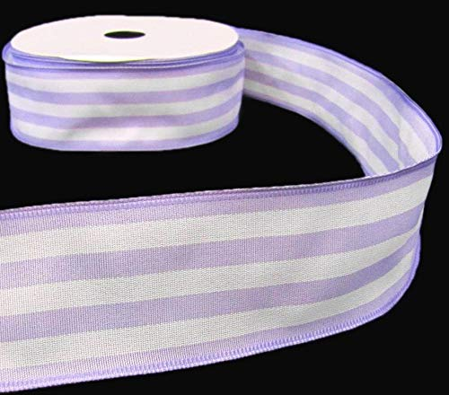5 Yds Pastel Purple Lavender White Spring Stripe Striped Wired Ribbon Lace Trim Embroidery Applique Fabric Delicate DIY Art Craft Supply for Scrapbooking Gift Wrapping 2' W