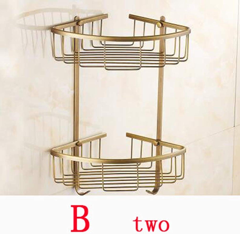 LUDSUY 1 ∕ 2 Layer Copper Bathroom Producks Corner Rack, Retro Toilet ∕ Kitchen Shelf, Brass Layer Triangle Shelf,F