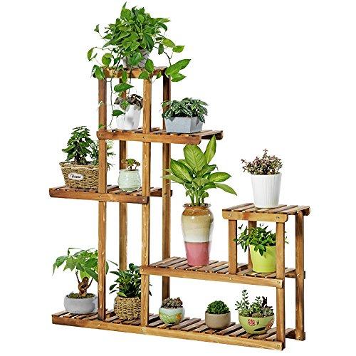KELE Protection de l'Environnement Bambou Multicouche Etagère à Fleurs en Plantes, Étagère à Fleurs en Bois Multifonctionnel Balcon Salon Grande capacité Espace Grille Plateau-A