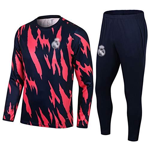 FICL 2021 Réāl MǎDRǐD Traje de Entrenamiento de fútbol para Hombres - Red y Negro Cuello Redondo Pulloto de fútbol de fútbol de fútbol para otoño/Desgaste de Invierno T M