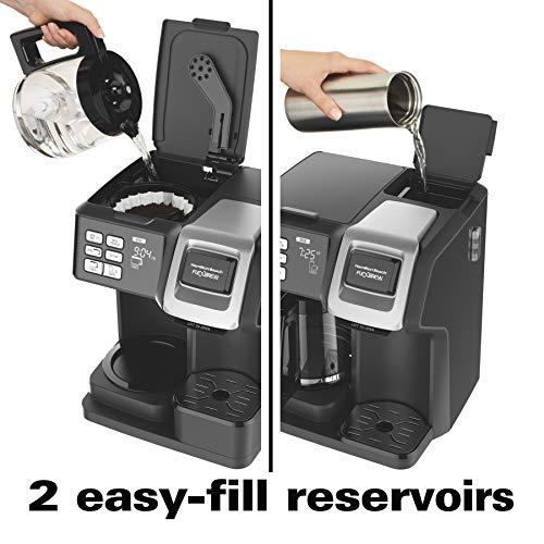 Hamilton Beach (49976) FlexBrew Coffee Maker, Single Serve & Full Coffee Pot, Compatible with Single-Serve Pods or Ground Coffee, Programmable, Black