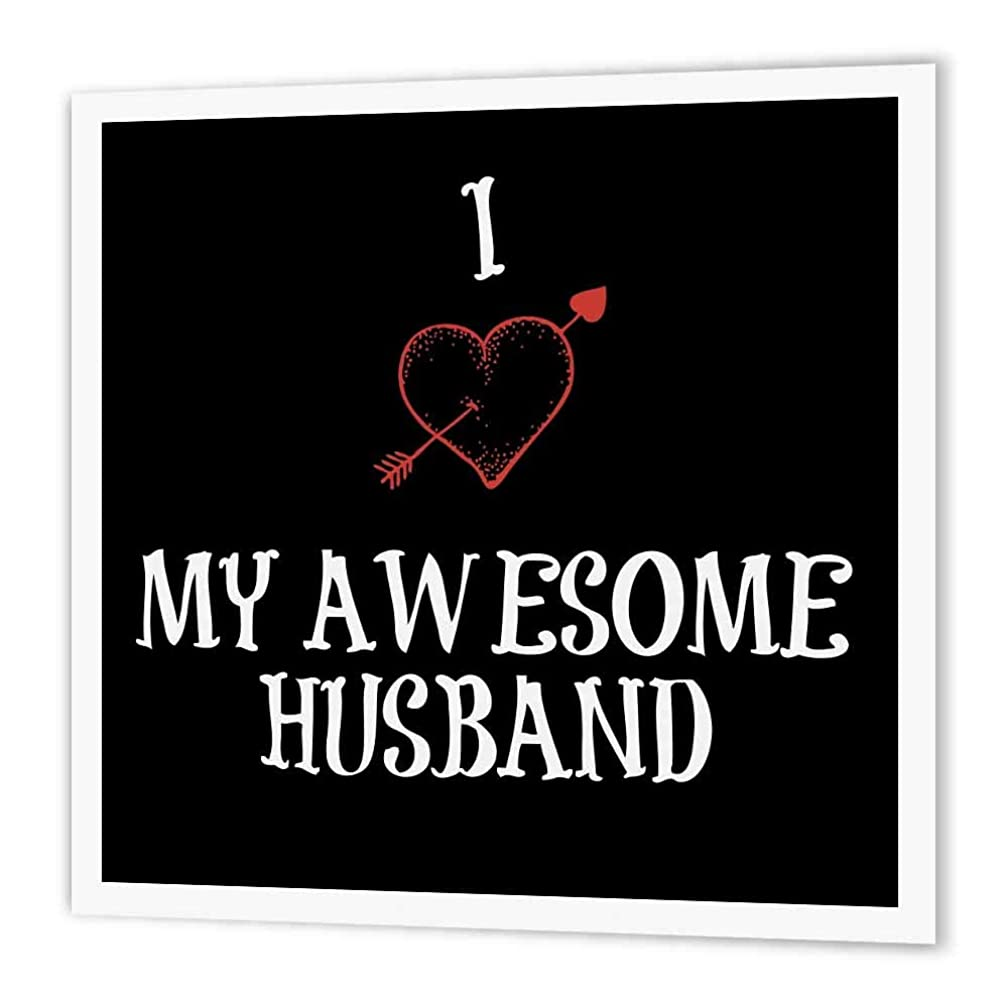 3dRose ht_172483_3 I Love My Awesome Husband, Red Heart, Black Background-Iron on Heat Transfer Paper for White Material, 10 by 10-Inch