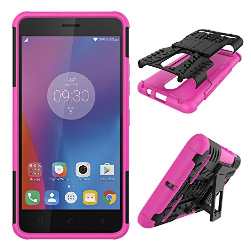 Qiaogle Phone Case - Shock Proof TPU + PC Hybrid Armor Stents Case Cover for Lenovo K6 / K6 Power (5.0 inch) - HH16 / Black & Rose