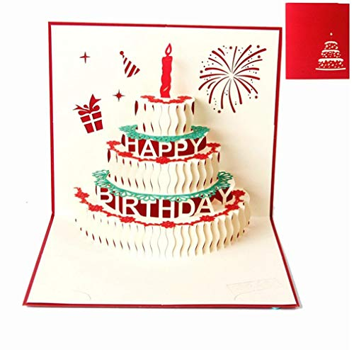 BESLIME Grußkarten Geburtstag, Geburtstagskarte Geschenk für Ihre Verwandten, Freunde und Liebhaber Special, 3D Pop-up-Grußkarte mit schönen Papier-Cut, Umschlag enthalten (Happy Birthday)