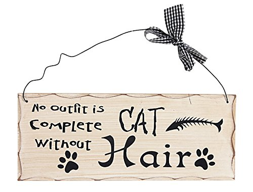 Attraction Design No Outfit is Complete Without Cat Hair Holz Folk Wisdom Plaque, Creme