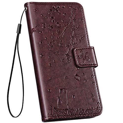 Ysimee Hülle kompatibel mit Huawei Y5 2019 /Honor 8S Handy Schutzhülle/Klapphülle PU Lederhülle mit Standfunktion & Kartenfach, extra Dünn, Tasche Einfarbig, Leder Hülle - (Kaffee)