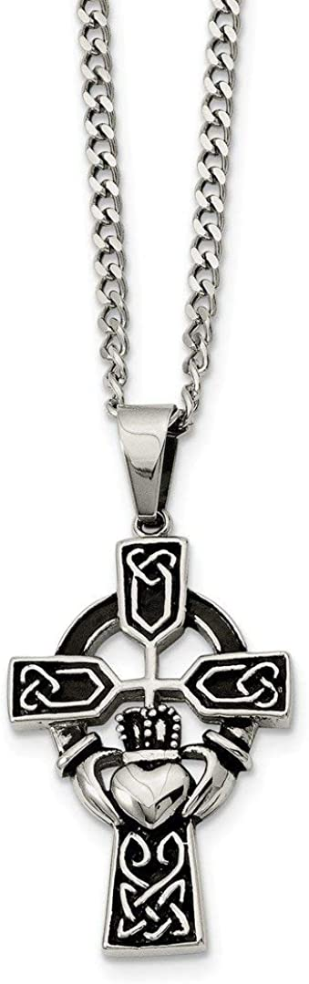 ICE CARATS Stainless Steel Irish Claddagh Celtic Knot Cross Religious 20 Inch Chain Necklace Pendant Charm Fashion Jewelry for Women Gifts for Her