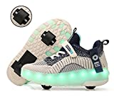 qmj Bambini Ragazze LED Scarpe con Rotelle Bambini Ragazzi Lampeggiante Trainer Sneakers Scarpe Low Top Scarpe Sport Outdoor Skate Cross Trainers,Blue-35