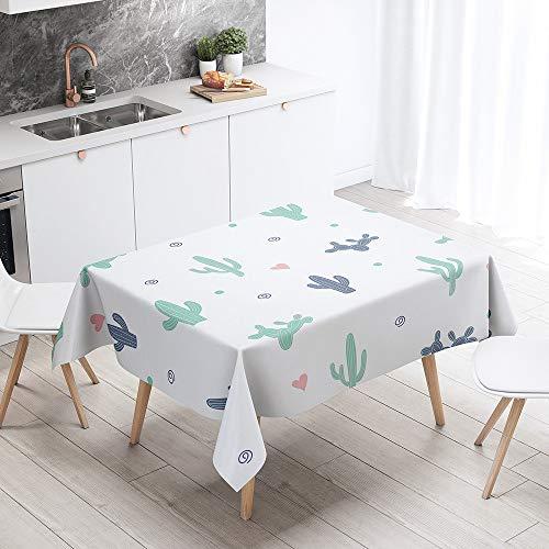 Fansu Manteles de Mesa Rectangular para Decorar, Impermeable Antimanchas Comedor Cuadrada Cactus de Impresión Manteles para Cocina/Cena/Picnic Decoración (Moda Blanca,100x140cm)