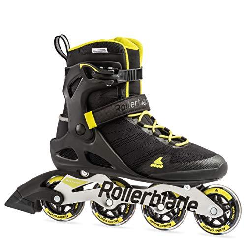 Rollerblade Sirio 80 - Patines en línea Unisex para Adultos, Color Negro/Amarillo neón, 285