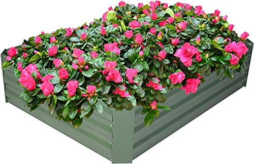 Sanbay Art Garden Bed, Raised Planter Galvanized Raised Garden Beds, Outdoor Flower Box Herb Plant Veggies Patio (US Stock)