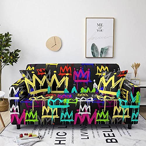 Fundas para Sofa 4 Plazas Funda de Sofa Elastica Cubre Sofa Cubresofá Funda Cubierta para sofá Ajustable Protector Lavable Funda de sillón para sofá 225-290cm, Graffiti Crown Negro