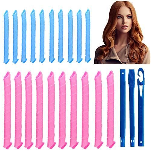 20 rulos manuales sin calor, rizadores para el pelo durante la noche, rizadores mágicos con gancho (30 cm y 50 cm)