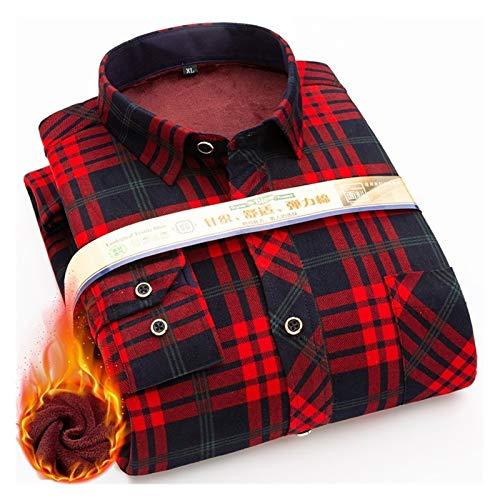 Camisa de invierno cálida para hombre de ajuste regular más grueso blusa asiática talla grande a cuadros casual ropa de manga larga (color: 215, tamaño: asiático 8XL 48)