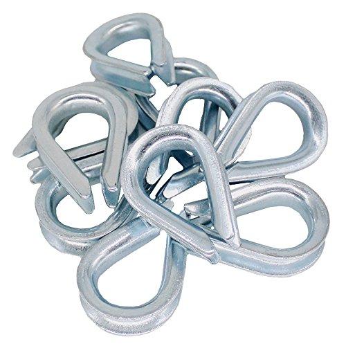 10x Kausche 8mm DIN 6899 Form B Stahl verzinkt Drahtseil-Zubehör Stahlseil Tauwerk Metall Kausch Seil-Öse Seilkausche