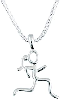 Sterling Silver Stick Figure Runner Necklace | .925 Sterling Silver Necklaces | Running Jewelry