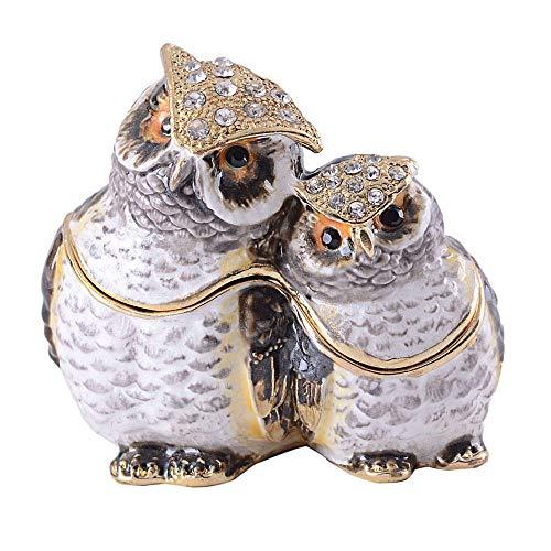 Standbeelden Uil Bejewelled Snuisterijdoosje Juwelendoos Vogelhuisje Metalen Vintage Decoratie Uil Decor Cadeaus Voor Haar/Hem