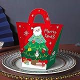TEBX Lot de 10 sacs à main de Noël Bonhomme de neige Sac d'emballage de goûter Sac en papier Sac à bonbons Chocolat Boîtes cadeau (Rouge 3)