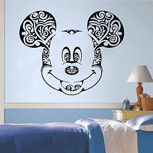 Anime dibujos animados ratón pared calcomanía flores cortadas niños niñas dormitorio bebé habitación decoración del hogar vinilo pared pegatinas dibujos animados guardería mural