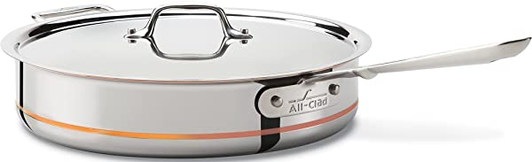 All Clad 6405 SS Copper Core 5 Ply Bonded Dishwasher Safe Saute Pan Cookware 5 Quart Silver