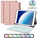 JUQITECH iPad Air 10.5 Backlit-Keyboard Case 2019 Smart Case with Bluetooth Keyboard for iPad Air 3 3rd Gen iPad Pro 10.5 Removable Wireless Rechargeable Keyboard Cover with Pencil Holder, Rose Gold