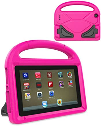 LEDMOMO Fire 7 2017 Kids Case, Handle Stand EVA Protective Cover Shock Proof Case for Amazon Kindle Fire 7 Tablet (Rose Red)