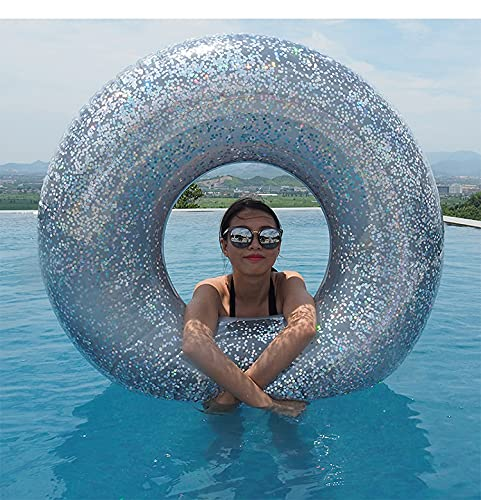 Mopoq Gold and silver inflatable sequin swimming ring underarm ring inflatable water floating bed floating rehearsal water swimming pool party inflatable toy swimming ring (Color : Silver)
