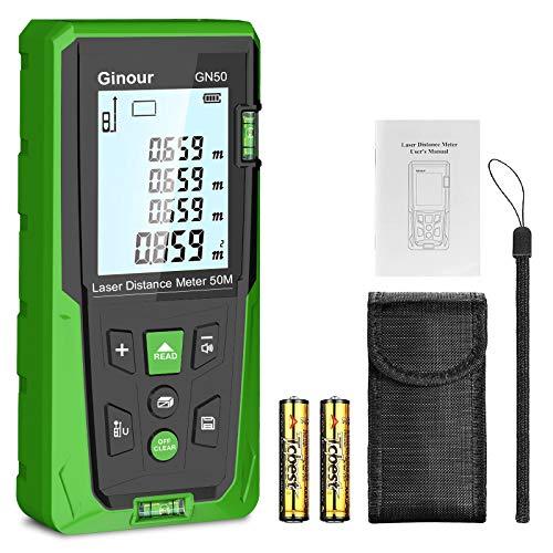 Entfernungsmesser,Ginour 50-Meter-Lasermessgerät mit 2 Luftblasen und Pythagoras-Präzisions-Entfernungsmessgerät, 99-Datensatz-Lasermessgerät und IP54 für Flächen- und Volumenberechnung
