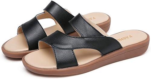 Summer New Ladies Sandales en Cuir Sandales de Plage Sandales Plates pour femmes-noir-37