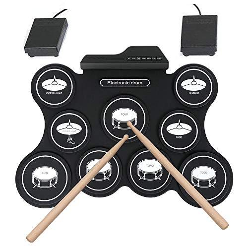 LuYi-Ww Portable Drum Kit 9 Pad elettronici Drum Set, Elettrico Drum Set con Jack per Cuffie, Bacchette, Pedali, Migliore Regalo per Il Natale di Compleanno di Festa