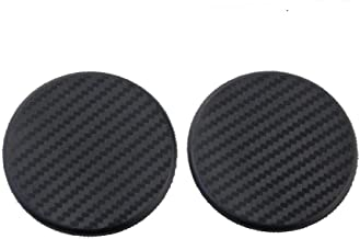 TRUE LINE Automotive Black Round Carbon Fiber Cup Holder Insert Interior Car Tray Anti Slip Pad