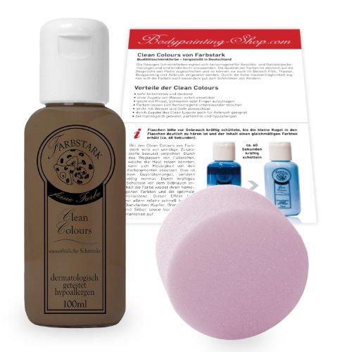 (15,95 €/100 ml) Farbstark Bodypainting Farben - hautfreundliche Körperfarbe in Profi Qualität (auch für Airbrush geeignet), Set: 100 ml Farbe + Schminkschwamm (Mittelbraun)